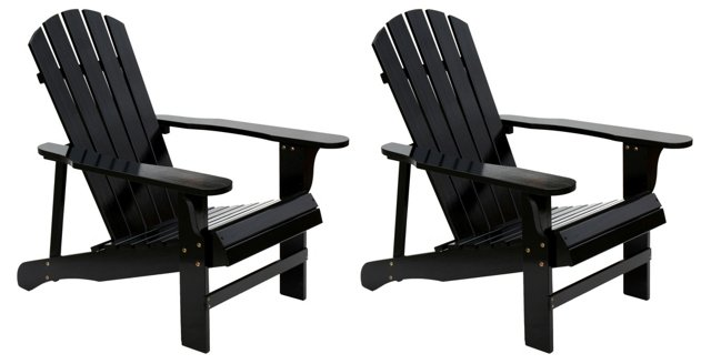 Black Wood Adirondack Chairs, Pair