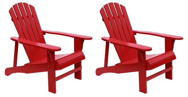 Red Wood Adirondack Chair, Pair