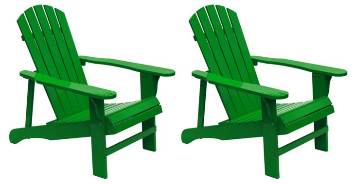 Green Wood Adirondack Chair, Pair