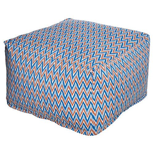 Chevron Beanbag Ottoman, Blue/Orange