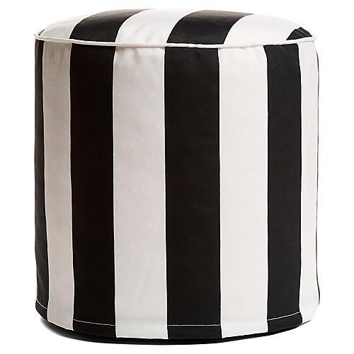 Cabana Stripe Outdoor Round Pouf, Black/White