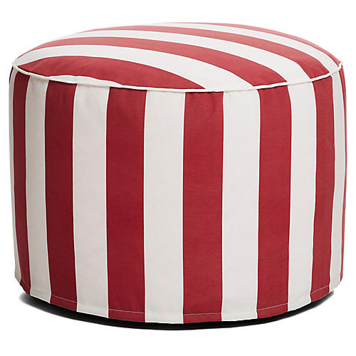 Cabana Stripe Outdoor Ottoman, Red/White