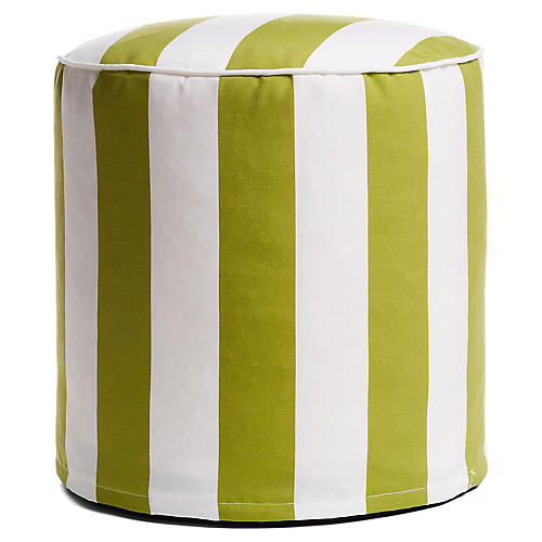 Cabana Stripe Outdoor Round Pouf, Green/White