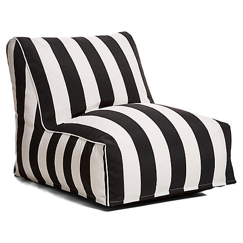 Cabana Stripe Outdoor Lounger, Black/White