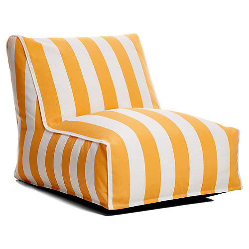 Cabana Stripe Outdoor Lounger, Yellow/White