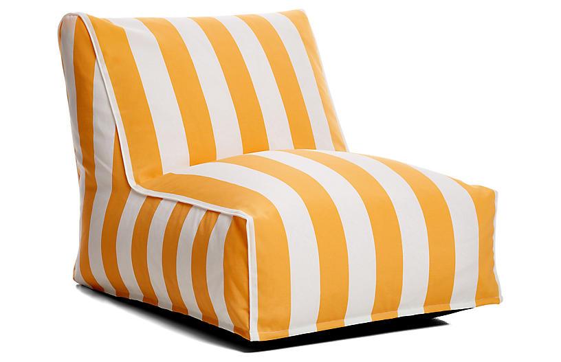 Cabana Stripe Outdoor Lounger - Yellow/White