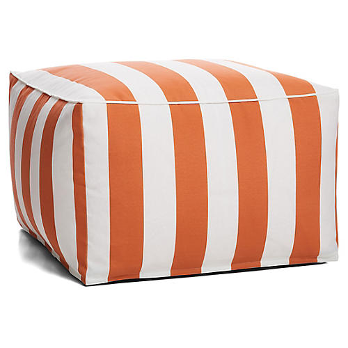 Cabana Stripe Outdoor Square Pouf, Orange/White