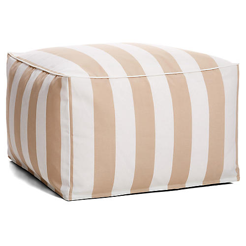 Cabana Stripe Outdoor Square Pouf, Beige/White