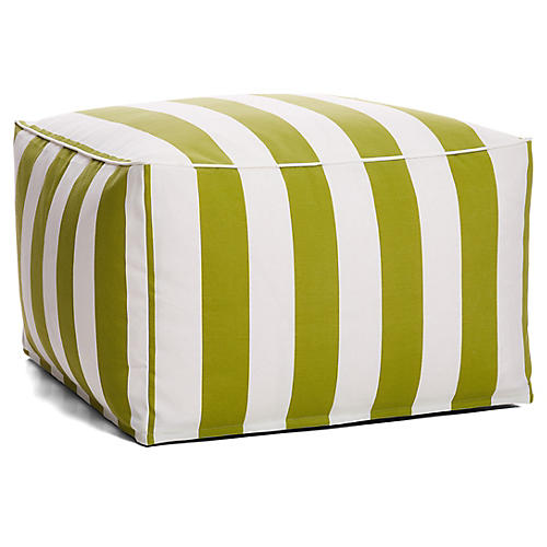 Cabana Stripe Outdoor Square Pouf, Green/White