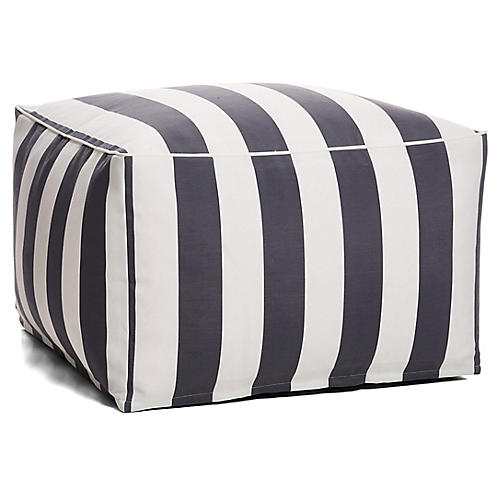 Cabana Stripe Outdoor Square Pouf, Gray/White