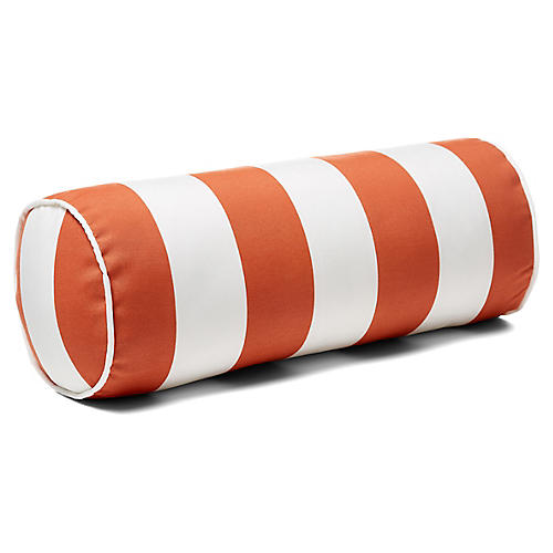 Cabana Stripe 8x20 Outdoor Bolster Pillow, Orange