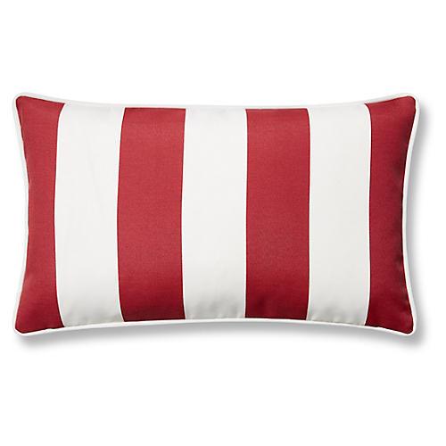 Cabana Stripe 12x20 Outdoor Lumbar Pillow, Red