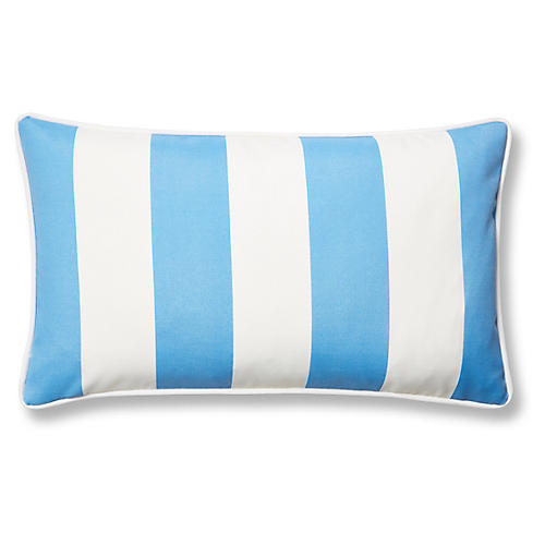 Cabana Stripe 12x20 Outdoor Lumbar Pillow, Blue
