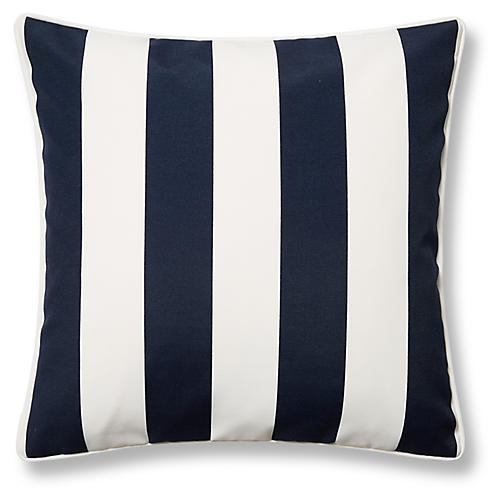 Cabana Stripe 20x20 Outdoor Pillow, Navy