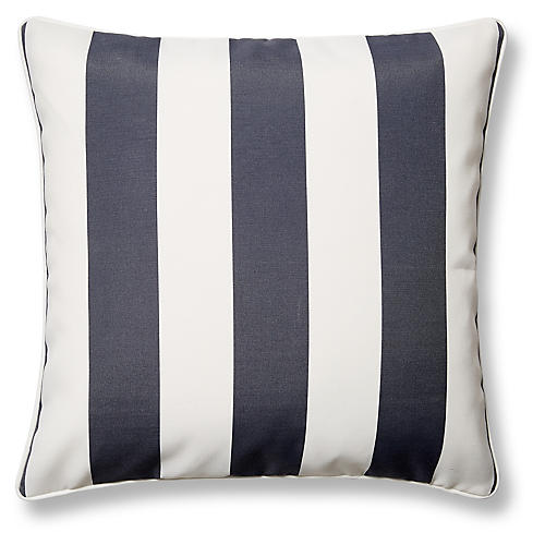 Cabana Stripe 20x20 Outdoor Pillow, Gray