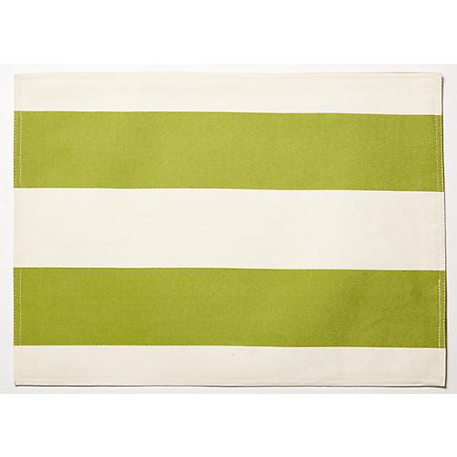 S/4 Cabana Place Mats, Green/White