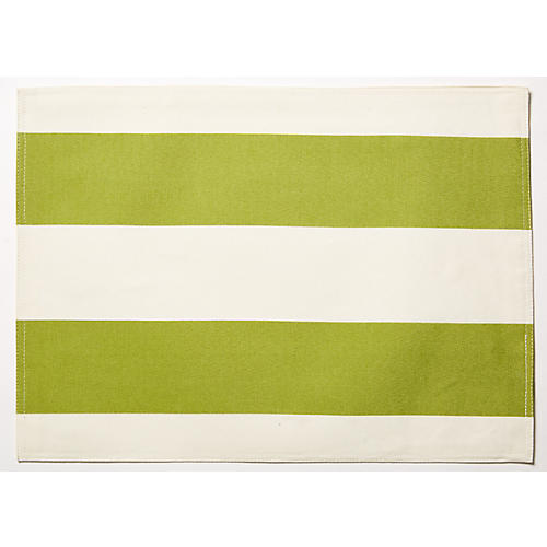 S/4 Cabana Place Mats, Green/White