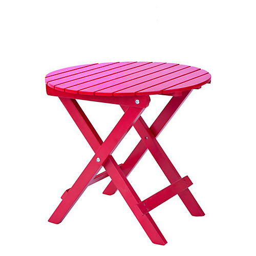 Adirondack Round Side Table, Red