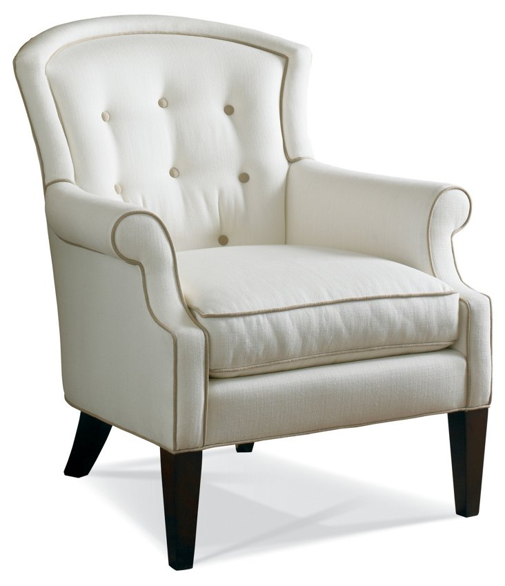 Mary Button-Tufted Chair, White