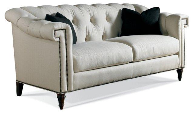 """Freya 74"""" Tufted Sofa, Off-White"""