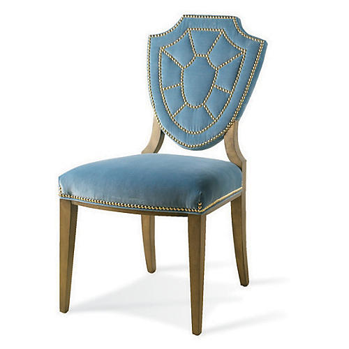 Pawline Velvet Side Chair, Blue