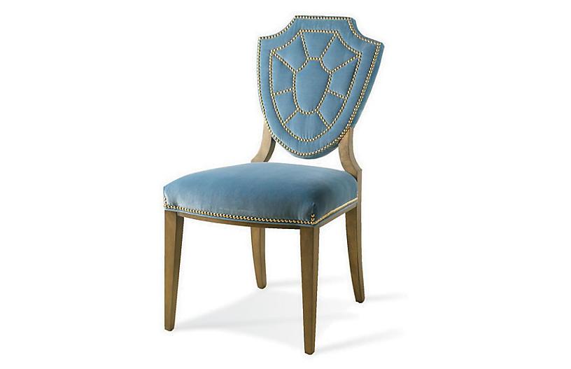 Pawline Velvet Side Chair, Blue