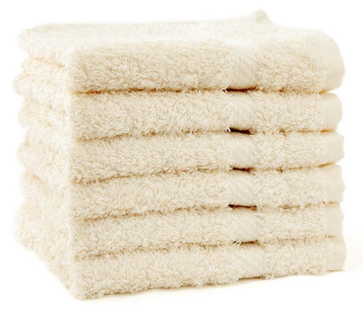 S/6 Rhapsody Royale Washcloths, Oyster