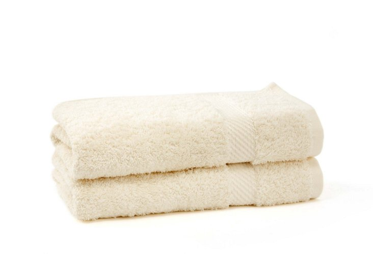 S/2 Rhapsody Royale Hand Towels, Oyster