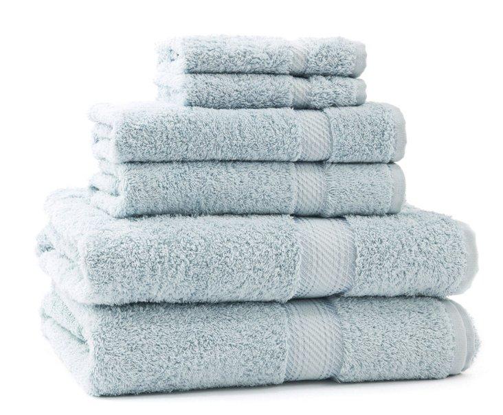 S/6 Rhapsody Towels, Duck Egg