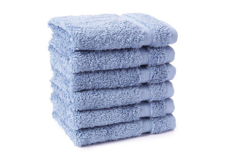 S/6 Ascot Washcloths, Blue