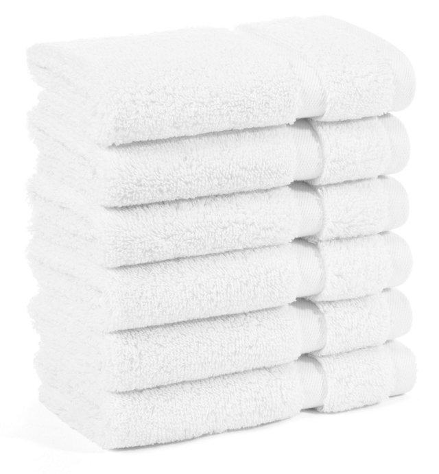 S/6 Irvington Washcloths, White
