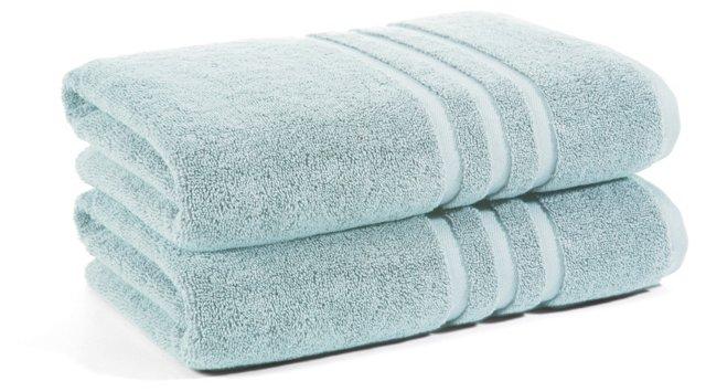 S/2 Irvington Bath Towels, Mineral Blue
