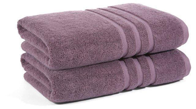 S/2 Irvington Bath Towels, Grape