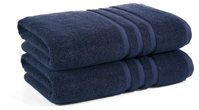 S/2 Irvington Bath Towels, Navy