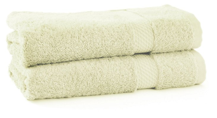 S/2 Rhapsody Royal Hand Towels, Mint
