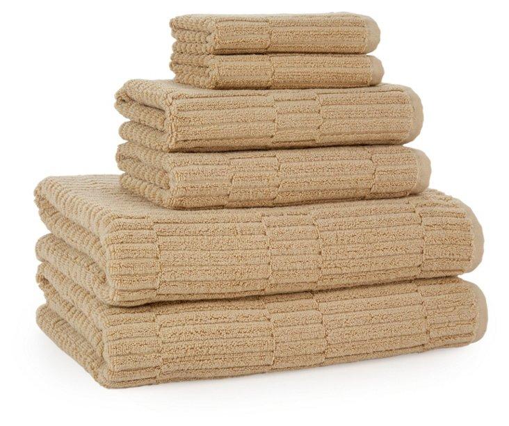6-Pc Oxford Rib Towel Set, Almond