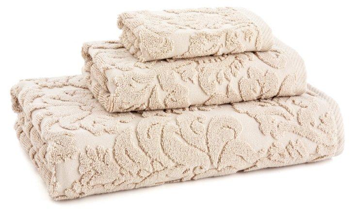3-Pc Baroque Towel Set, Stone