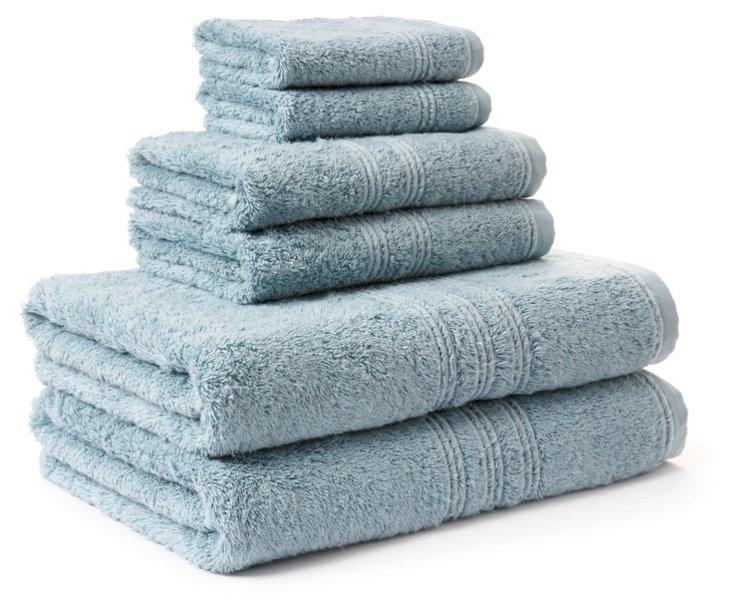 6-Pc Imperial Towel Set, Soft Aqua