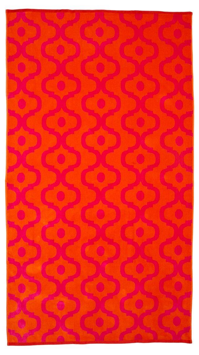 Moroccan Tile Beach Towel, Pink