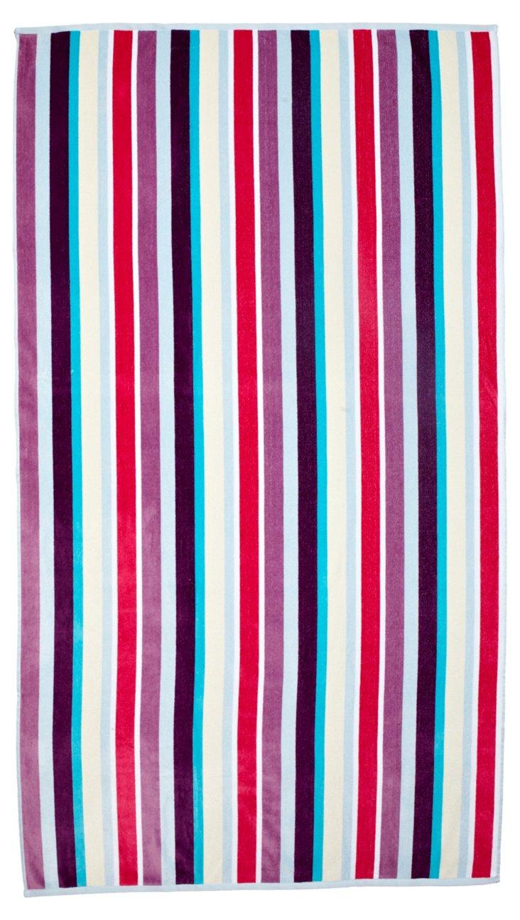 Manhattan Striped Beach Towel, Pink