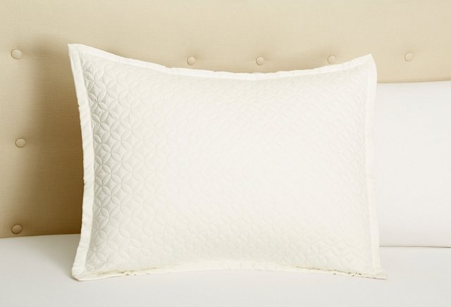 Meridian Quilted Sham, Ivory