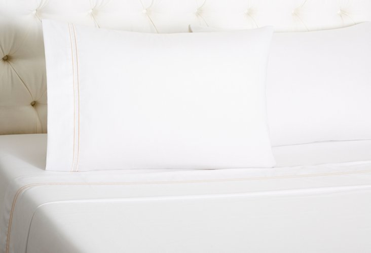 Hotel Sateen Sheet Set, White/Teaberry