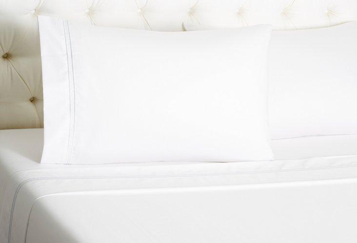 Hotel Sateen Sheet Set, White/Azure