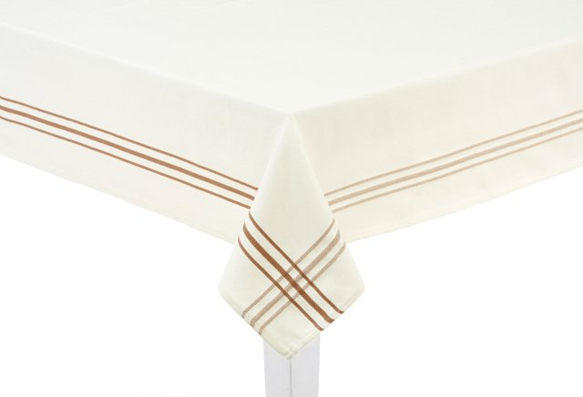 Tablecloth, White/Taupe