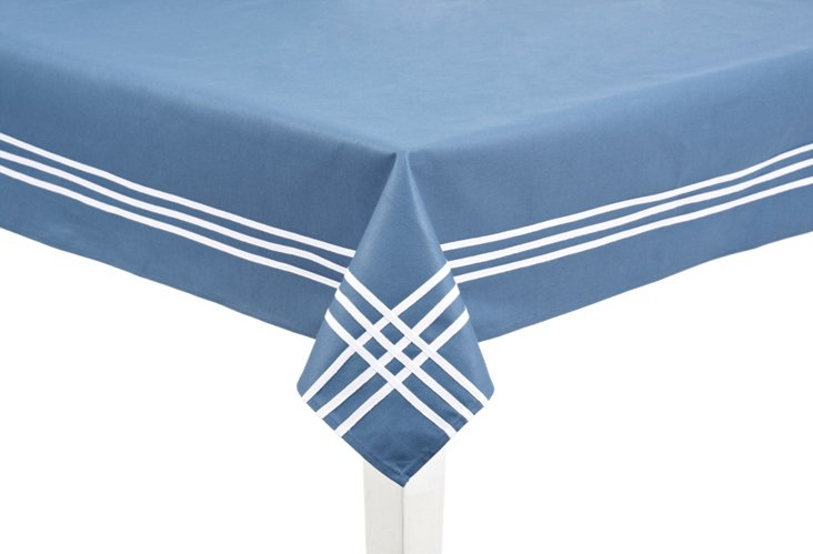 """Blue Tablecloth w/ White Stripes 52""""x52"""""""