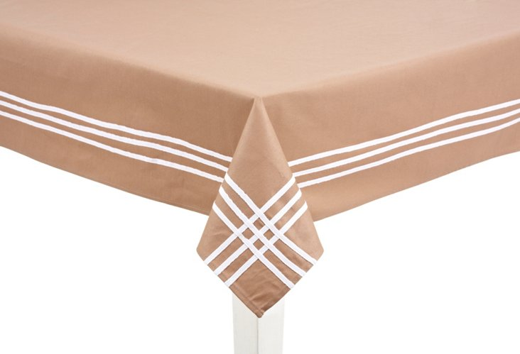 Taupe & White Striped Tablecloth