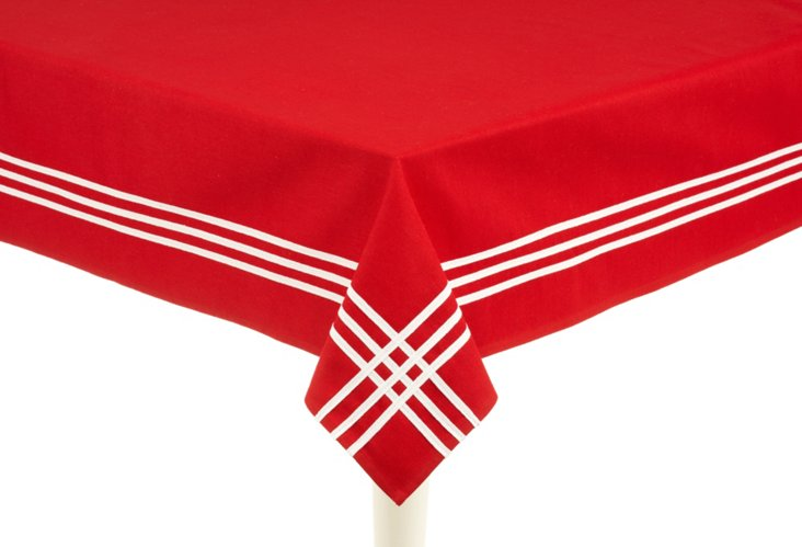 Red & White Striped Tablecloth