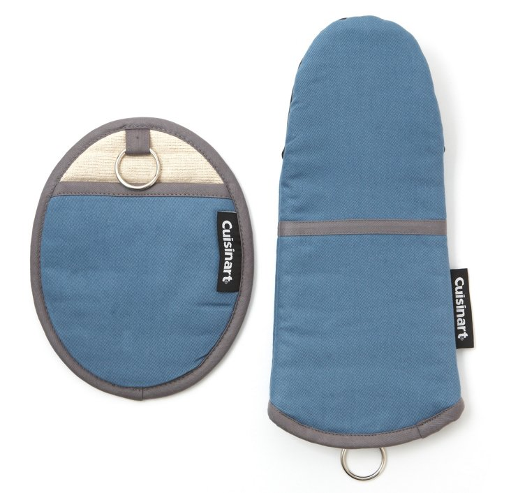 Pot Holder & Oven Mitt, Blue