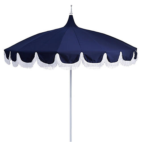 Aya Pagoda Fringe Patio Umbrella, Navy