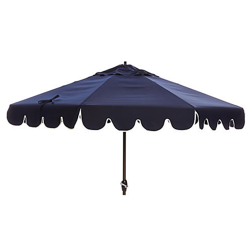 Phoebe Scallop-Edge Patio Umbrella, Navy